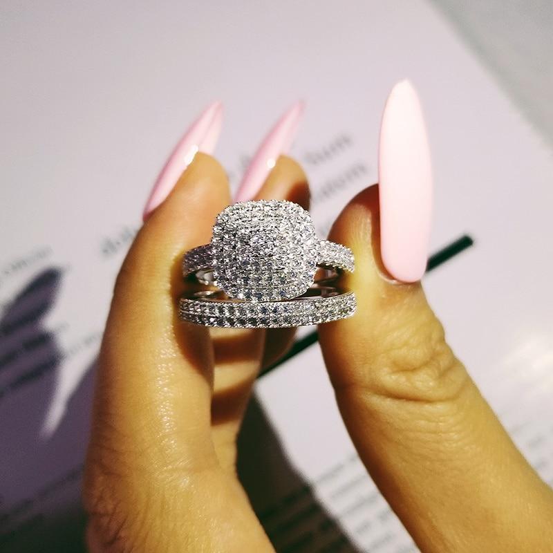 solid 925 Sterling Silver zircon Wedding Ring Set for Bridal Women Men Finger Gift Africa zambia botswana Fashion Jewelry LR4854
