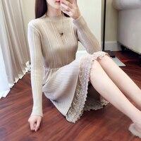 Трикотажное платье с кружевом на юбке