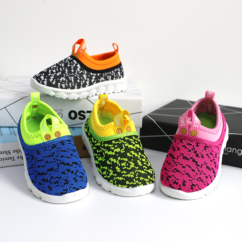 2019 New Soft Kids Shoes Baby Boy Girl Shoes Candy Color Woven Fabric Air Mesh Children Casual Sneakers For Boys Girls