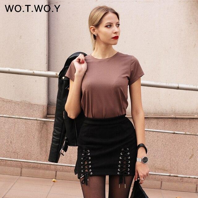 Cotton Elastic Basic Casual Tops Short Sleeve T-shirt 1