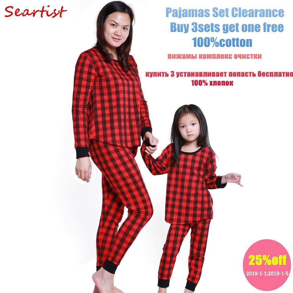 Seartist mamma un meita pavasara sarkanās pleds pidžamas Set Mather un meitene naktsveļa Komplekts ģimenes saskaņošanas naktsveļa komplekts 2019 Jauns 25