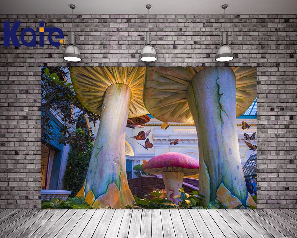 Kate Photo Studio Props Baby Colorful Giant Mushroom Butterfly Scenic Photography Backdrops For Children,Newborn Yy00574 retro background christmas photo props photography screen backdrops for children vinyl 7x5ft or 5x3ft christmas033