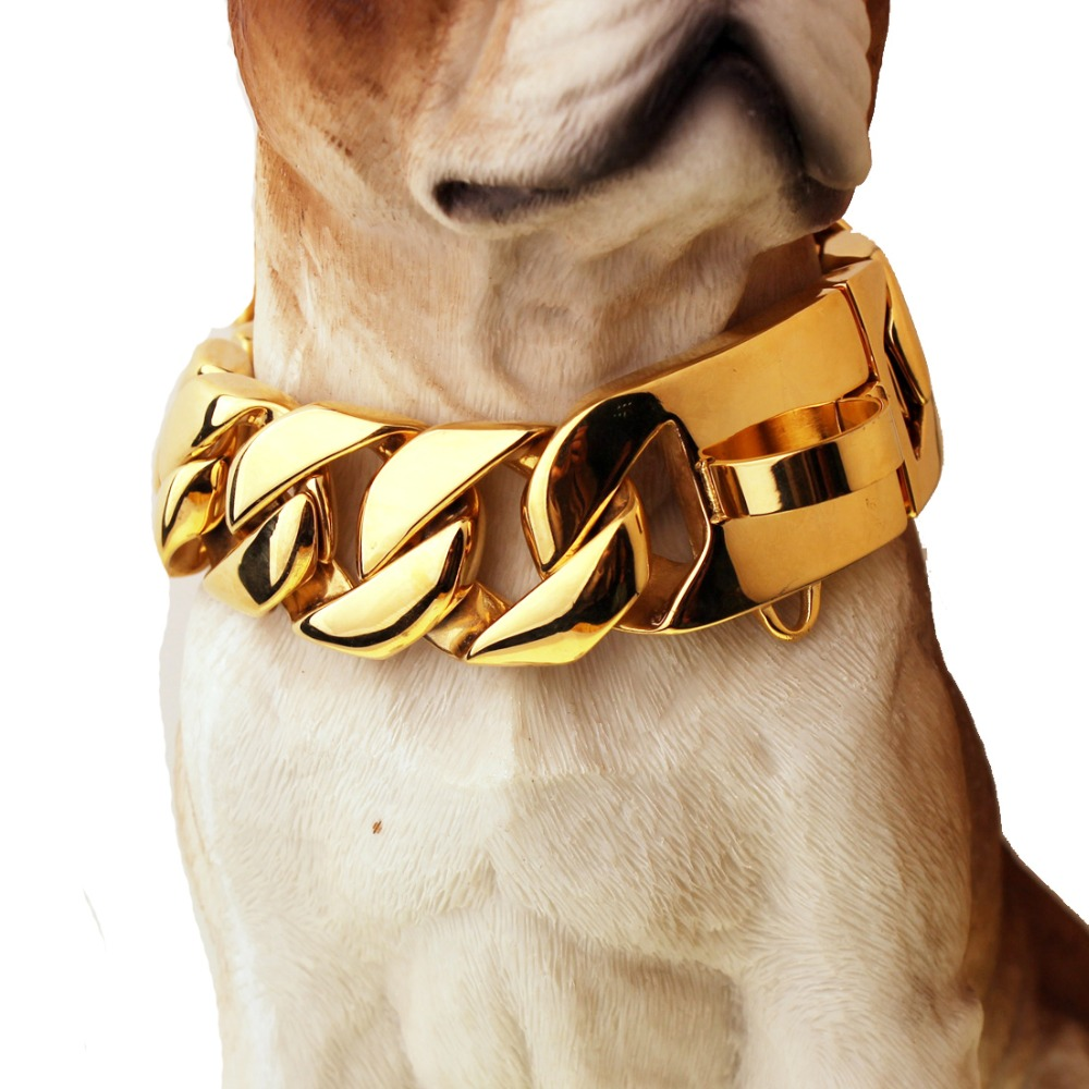 Betty 30mm Exaggerated Extra coarse 316L Stainless Steel Cuban Gold Pet Dog Chain Necklaces Collars Choker Necklaces Top quality