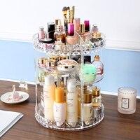 ANFEI 360 degree Rotating Makeup Organizer Box Brush Holder Jewelry Organizer Case Jewelry Makeup Cosmetic Storage Box C214