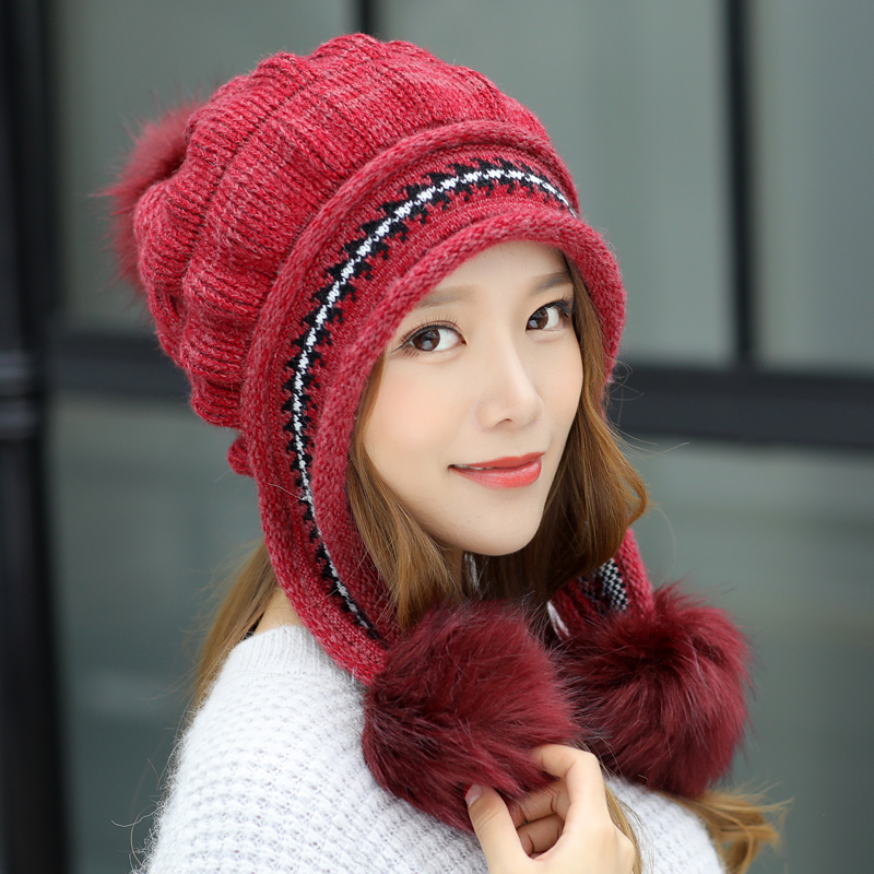 Tsureobe Women Beanie Warm 2018 New Brand Big Fur Poms Warm Gloves + Knit Hat Set Winter  Women Hat Female Cap  New Fashion