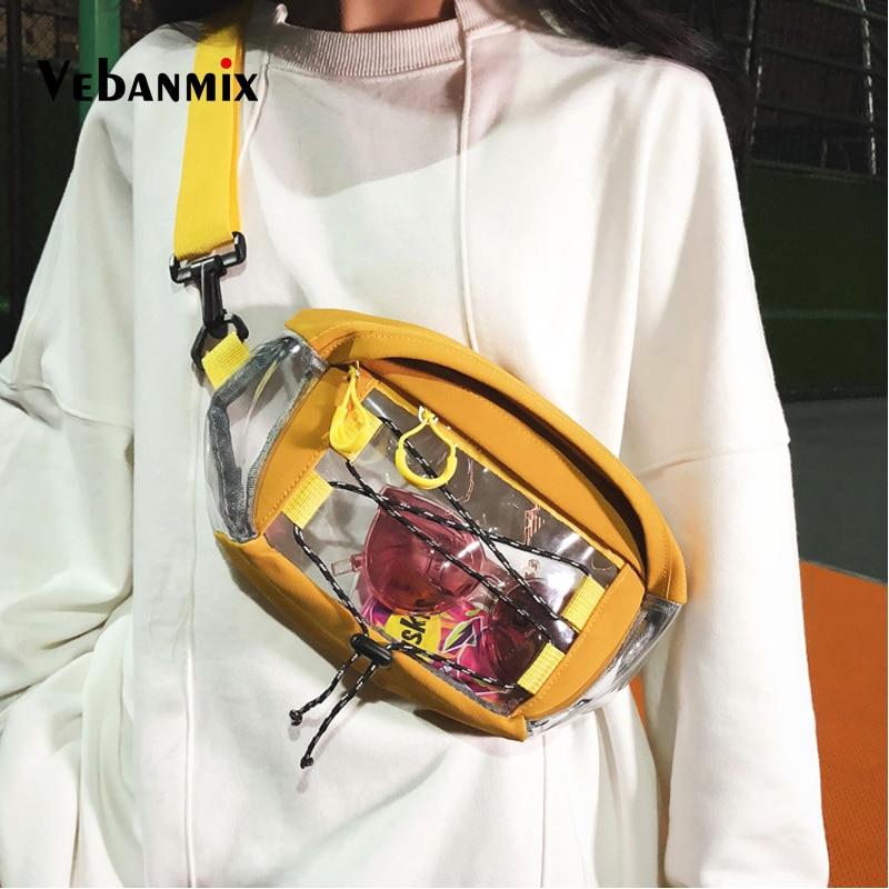 Fashion Clear PVC Transparent Fanny Pack Waist Bag Men Unisex Hip-hop Travel Phone Belt Bag Pouch  PVC Chest Bag Ladies 2019
