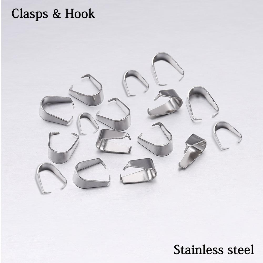 50-100pcs Stainless Steel Buckle Charm Bail Beads Connector Bale Pinch Clips Pendant Clasps Hook For DIY Jewelry Making Findings