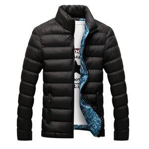 Image 2 - Мужская зимняя куртка с хлопковой подкладкой, толстая приталенная стеганая парка с длинными рукавами, теплая верхняя одежда, 2020