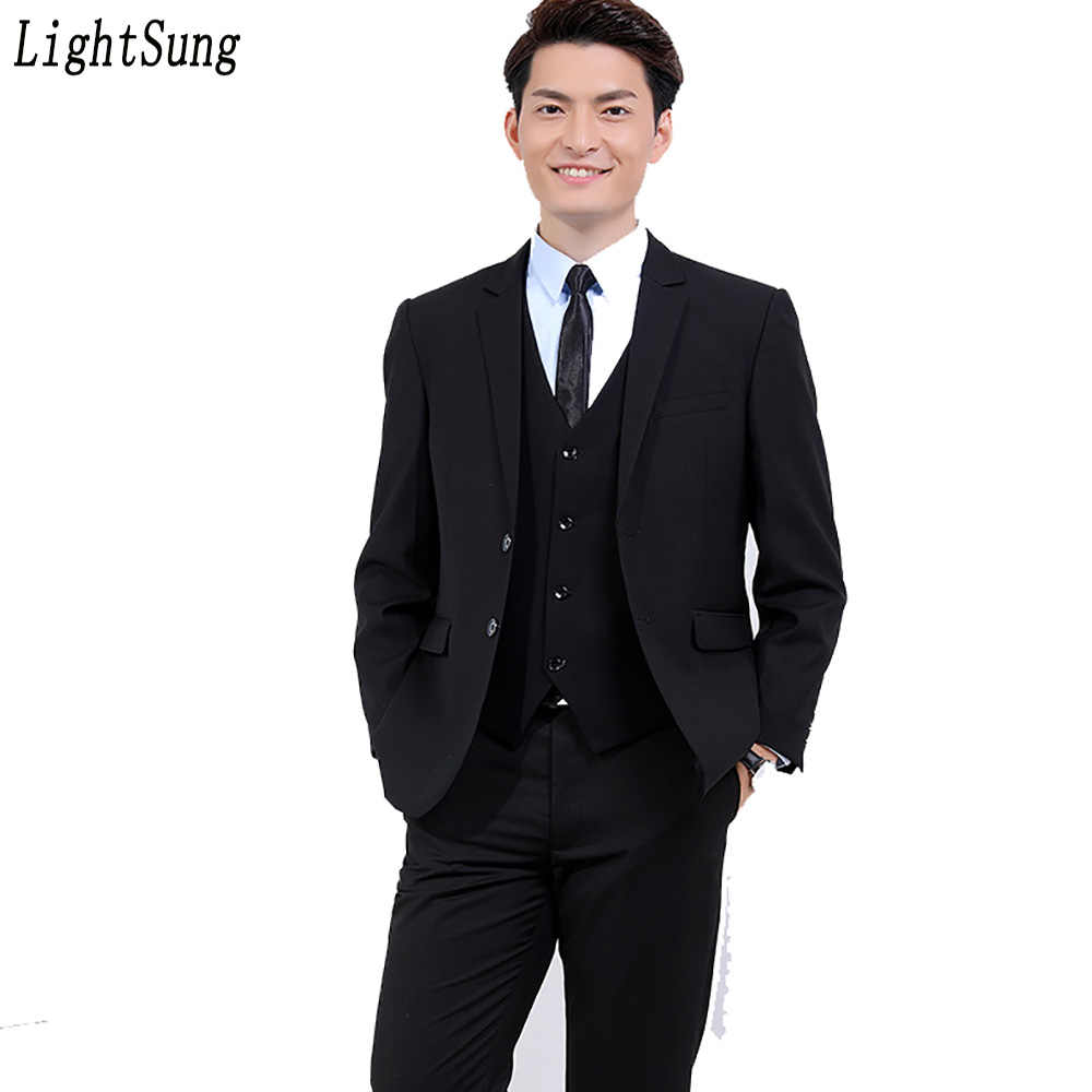 d3752f988b7 2018 New men s business men s professional office suits set slim Korean  style two pieces(jacket+
