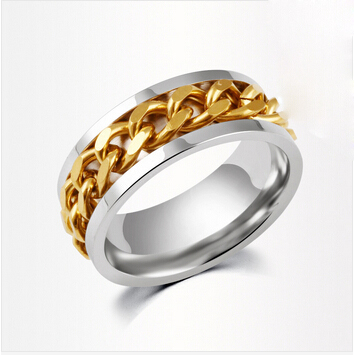 Gold   Silver Stainless Steel Chain Rings for Women and Men Ring Anillos  Spinner Men Jewelry Lord Of The Rings-in Rings from Jewelry   Accessories  on ... 8a4f58ccedfe