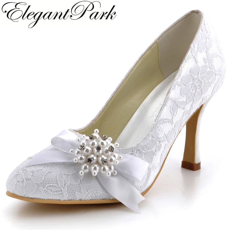 Women Lace Shoes  AJ001 White,Ivory Pointed Toe Rhinestone Pearls Bow Lady Wedding Heels Evening Party Pumps sweet girls pink rhinestone and ivory pearls diamond wedding high heels shoes graduation ceremony party pumps drop shipment