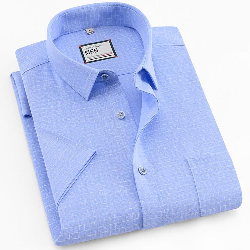 Heren Dress Shirt Zomer Heren Korte Mouw Werk Shirts Plaid Casual Shirt Mode Man Shirt Easy Care Meer Kleuren Vloeiende Circulatie En Pijn Stoppen