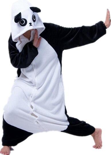 Cosplay Cartoon Animal Kung Fu Panda Flano Sleep Lounge Pyjamas One Piece Sleepwear Halloween Carnival Party Costumes Plus Size