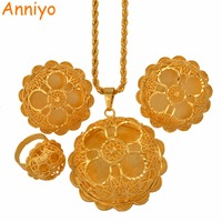 Anniyo New Arrival Ethiopian Wedding Jewelry Sets Necklace Big Earring Ring Gold Color African Eritrea Habesha