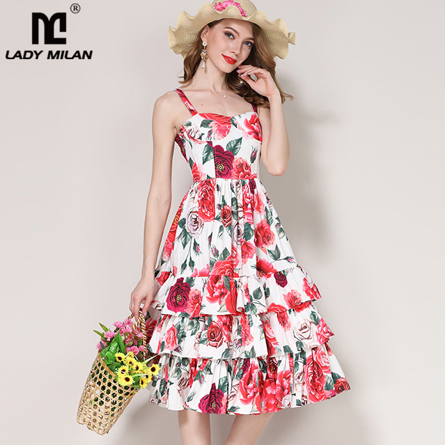 Lady Milan 2018 Womens Spaghetti Straps Floral Printed Tiered Ruffles Fashion Casual Summer Holiday Dresses