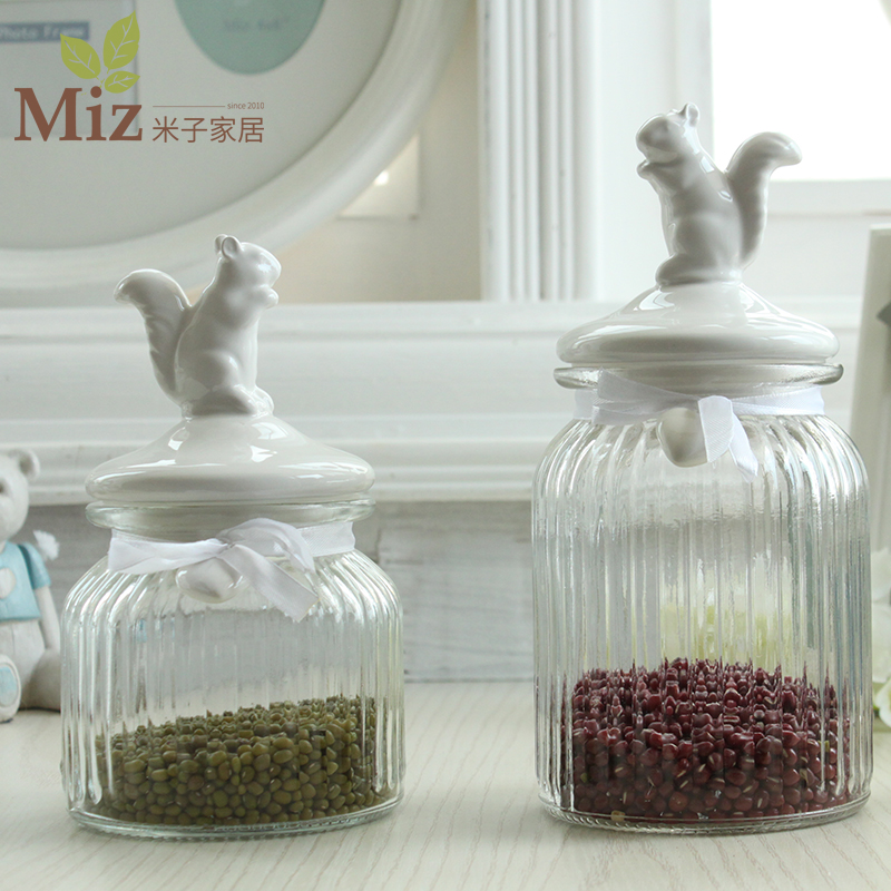 M child home home American country animal glass ceramic jar seal home decoration accessories