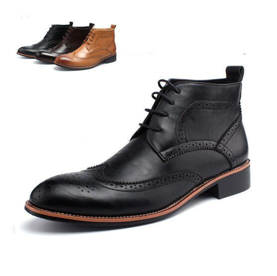 Spring Fashion High top botas de Cuero Vintage Lace Up Brogue botas Para Hombre Punta estrecha botines Masculinos zapatos chaussure homme 022