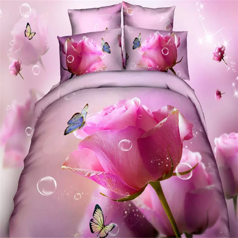 Home Textile Have An Inquiring Mind Pink Rose Butterfly Bedding Sets King Size,220 X240cm King Size Red Rosd 3d Duvet Cover Sets For Girls Wedding Bed Linen Queen To Produce An Effect Toward Clear Vision Bedding Sets