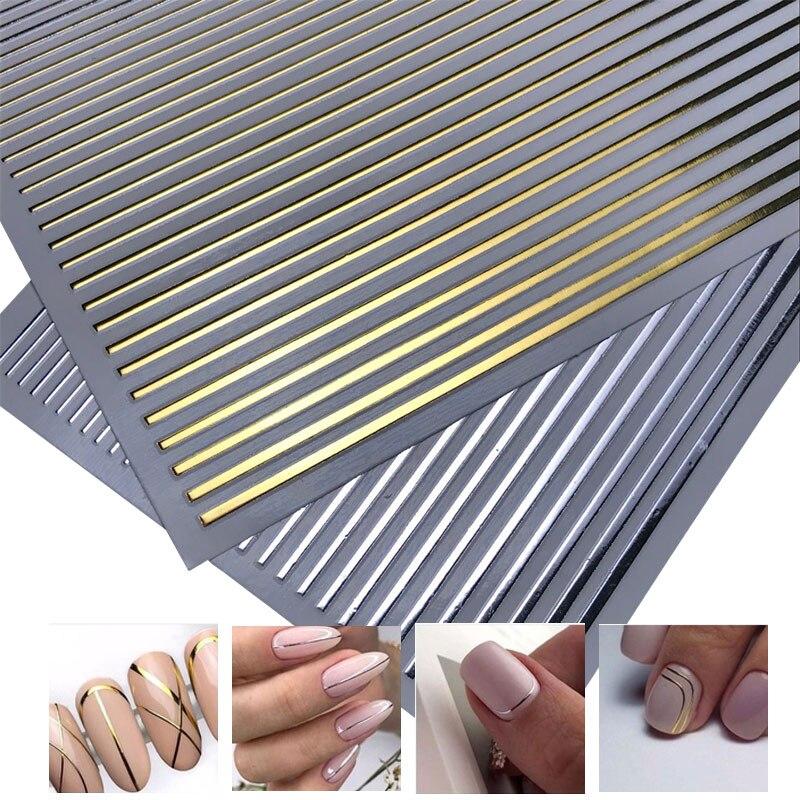 2020 HOT SALE 3D Nail Stiker Gold Silver 3D Tape For Nail Art Sticker Metal Strip Tape Multi-size 3D Nail Foil Nail Art Manicure(China)