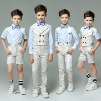 Double Breasted Striped England Summer 4pcs Set Vest Strap Shirt Pants Bow Tie Groom Boys Formal