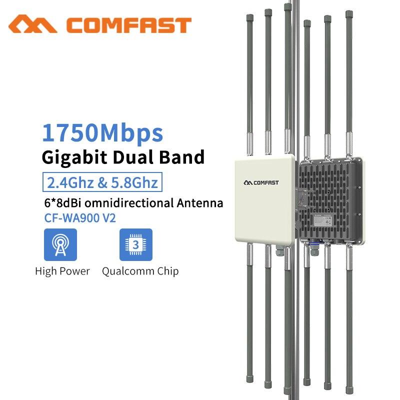 1750 Mbps Dual Band 5.8G Outdoor AP 6 * 8dBi Antenna WiFi Copertura Della Stazione Base Router Segnale WiFi Hotspot amplificatore di Ripetitore Del Ripetitore