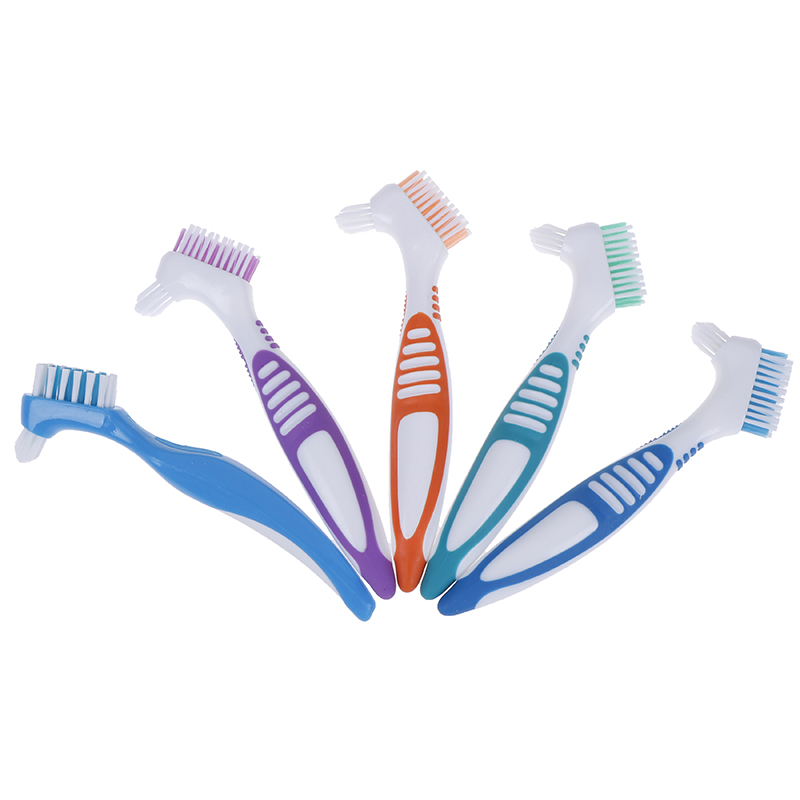 Multi-Layered Denture Cleaning Brush Bristles False Teeth Brush Oral Care Tool Bristles & Ergonomic Rubber Handle