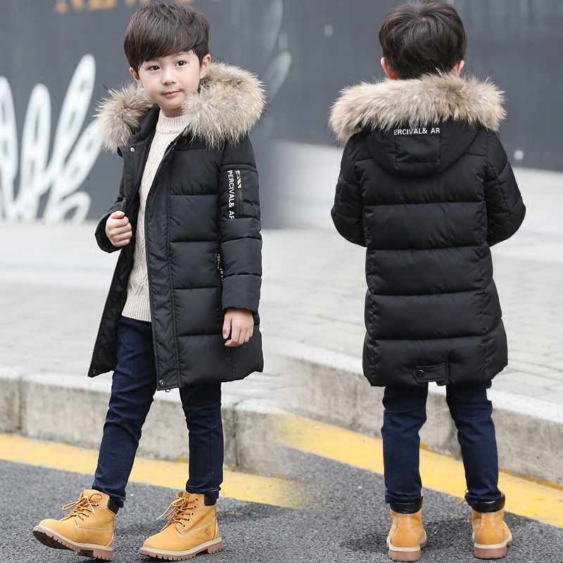The boy in the long winter coat thick warm 2017 new children in children's fashion casual jacket cotton padded jacket skullies beanies the new russian leather thick warm casual fashion female grass hat 93022
