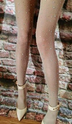 Sängerin Weibliche Dj ds Funkelnden Diamant Socken Mode Haut Farbe Schwarz Sterne Handgemachte Strass Strampler Fishnet