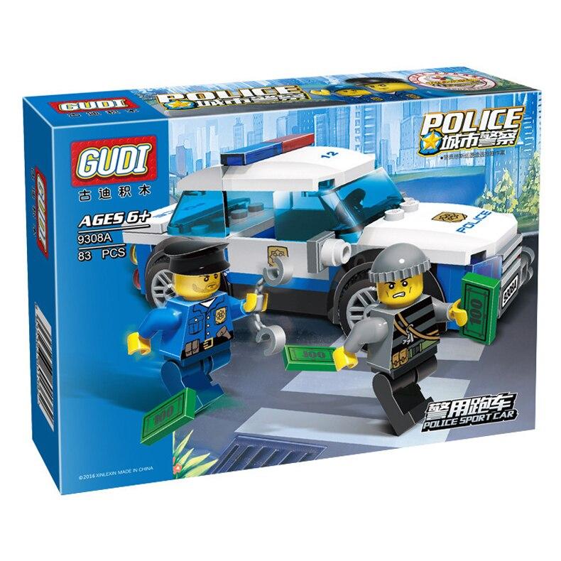 9308A Гуди город серии 83 шт. полиции заботился человек cops автомобиля DIY образования кирпичи Building Block детские игрушки Совместимость с legoe