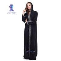 Embroidery Black Dress Arabian Turkey Muslim Sexy Split Dress Arab Clothing Autumn Abayas for Women Hooded Robe 9062