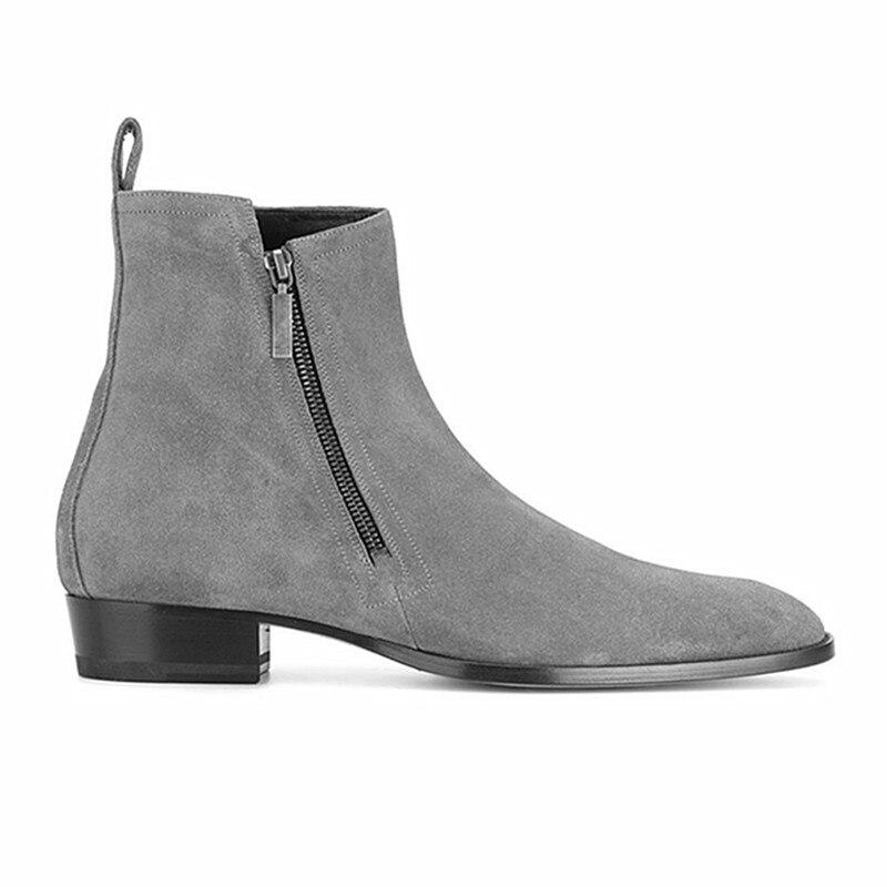คุณภาพสูงอังกฤษชายรองเท้าสบายๆฤดูใบไม้ผลิฤดูหนาวแฟชั่น Lace   up ข้อเท้ารองเท้าชี้ Toe จริงหนังเชลซีรองเท้า-ใน รองเท้าบู๊ทเชลซี จาก รองเท้า บน   2