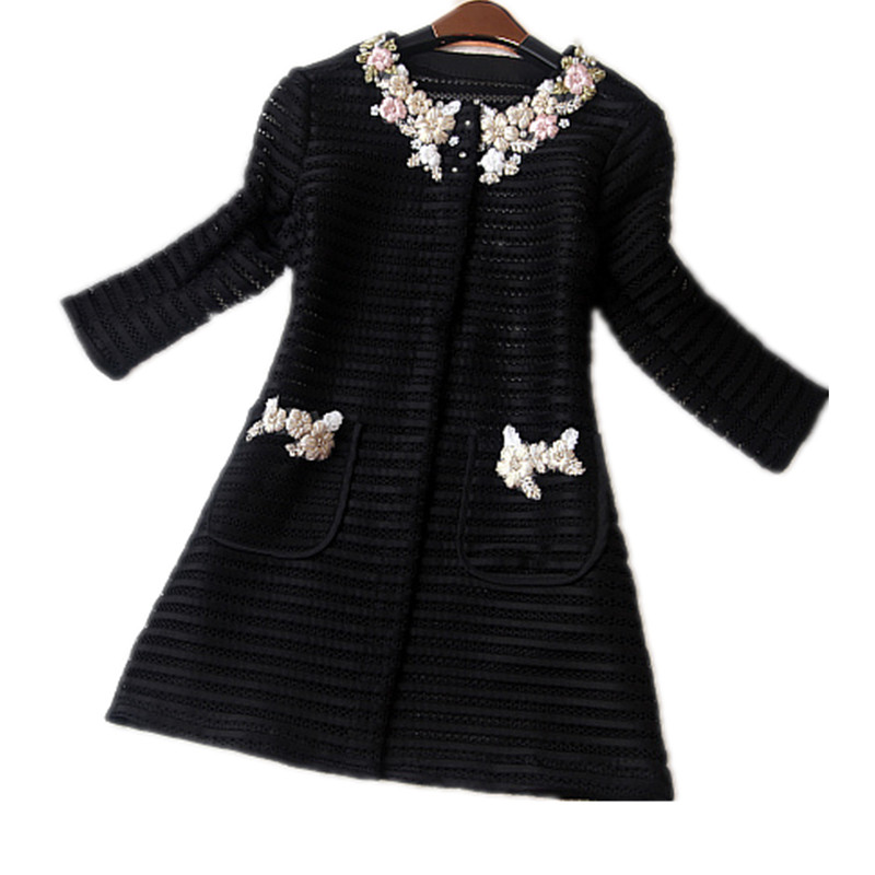 2017 Fashion Autumn Women's Outwear Long Sleeve Thin Embroidery Flowers Single Breasted Solid Plus 2XL women   Trench   Coat C77471A
