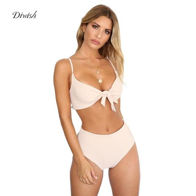 3635b073f350 Comprar Diwish mujeres de cintura alta Bikini traje baño blanco ...