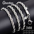 wholesale price 16-30 inch 3mm twisted chains necklaces 925 sterling sivler jewelry fine silver necklaces for pendants X175