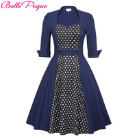 Belle Poque Womens Elegant Christmas Dress Women Retro Vintage Dresses 1950s 60s Audrey Hepburn Polka Dot