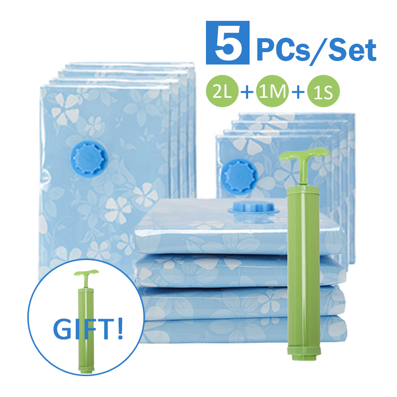 5pcs/set Thickened Vacuum Bag With Hand Air Pump Space Saver Reusable Clothes Quilt Compressed Foldable Storage Bags Organizer