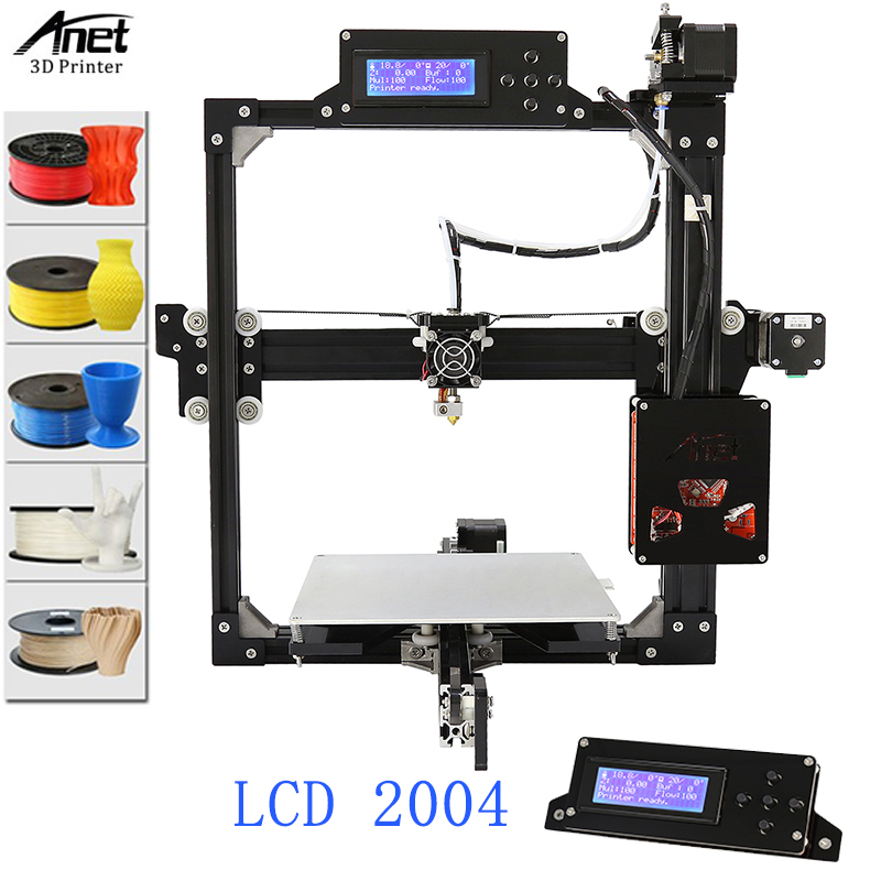 Anet A2 LCD 12864 & 2004 Screen 3D Printer With Large Printing Size 220*270*220MM Hotbed Plus Version For Free 1KG Filament anet a2 12864 large aluminium metal 3d printer with lcd display