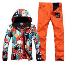 High Quality Men Ski Suit Windproof Waterproof Sport Wear Snowboard Skiing Jacket+Pants Thicken Thermal Warm Suit Set 630hfx