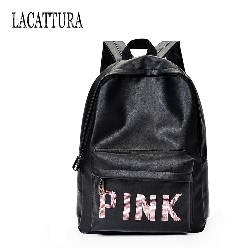 Famous Backpack Women Pink Letter School Bags Mochila Feminina Travel Bag PU Leather Backpack Escolar Black Laptop Backpack Men logo messi backpacks teenagers school bags backpack women laptop bag men barcelona travel bag mochila bolsas escolar