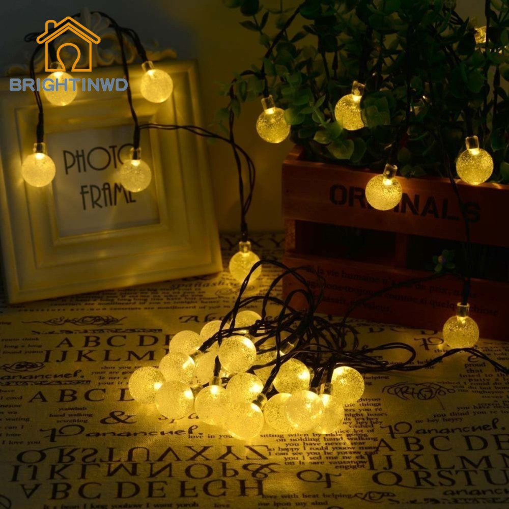 Solar Outdoor String Lights 6m 30 Led Crystal Ball Globe Christmas Fairy Lights For Holiday Party Garden Path Home Decoration In Lighting Strings From Lights Lighting