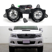 цена на Car Fog Light Assembly Kit For Toyota Hilux VIGO 2012-2016 12V DRL Front Bumper Halogen LED Fog Lights Kit Car Accessories