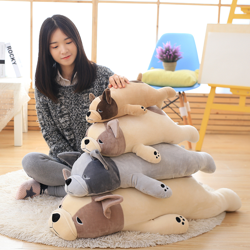2017 New Plush Suffed Toys,Elastic Cashmere Feather Cotton Lying Dog Pillow, Simulation Bulldog Plush Toy, Holiday Birthday Gift 1pc 50 85cm 3 colors cute lying down french bulldog plush stuffed toy doll model soft cotton dog pillows baby kids birthday gift