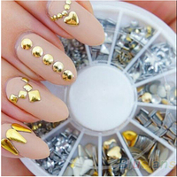 300 Pcs Set Free Shipping 6 Styles Silver 3D Shiny Metallic Luster Nail Decoration Wheel Round