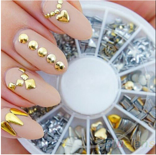 300 pcs/ set Free shipping 6 styles silver / 3D shiny metallic luster Nail decoration wheel round stickers area punk rivet studs free shipping 1 set silver color