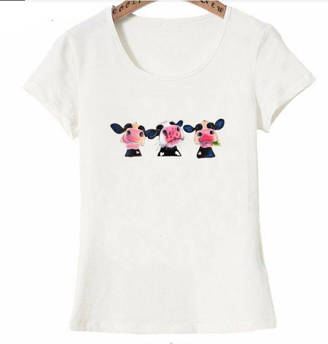 2019 nouveau été mode femmes à manches courtes coloré vache à lait imprimé 티셔츠 femmes doux 티셔츠 occasionnels kawai-에서티셔츠부터 여성 의류 의  그룹 1