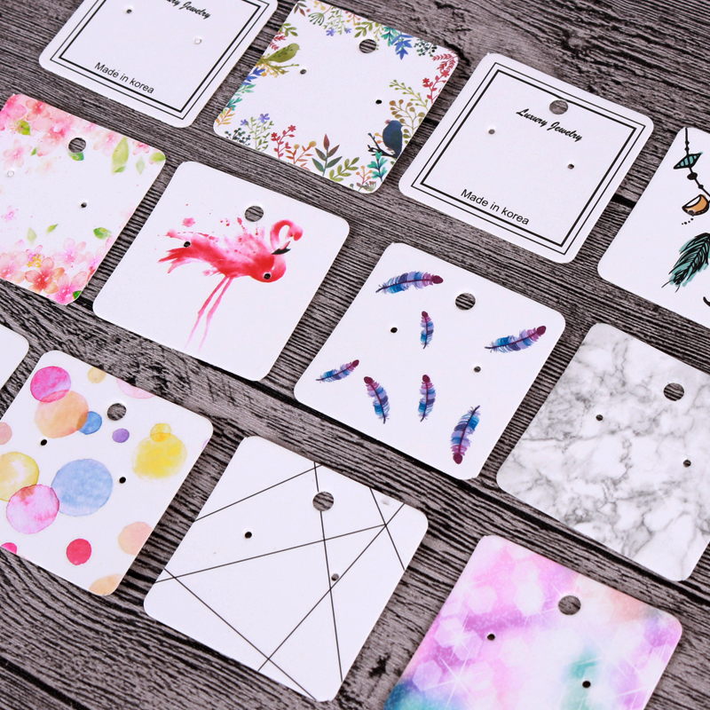 10Pcs 5x5cm Various Pattern Paper Jewelry Display Ear Studs Earring Cards Hang Label Tags For Jewelry Making Diy Accessories