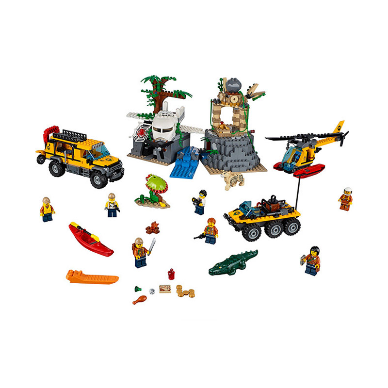 Bela Compatible Legoe giftse 10712 857PCS+ City Urban Jungle Exploration Site Building Blocks Bricks Toys 857pcs city jungle explorers exploration site wild animals 02061 model building blocks assemble toys bricks compatible with lego