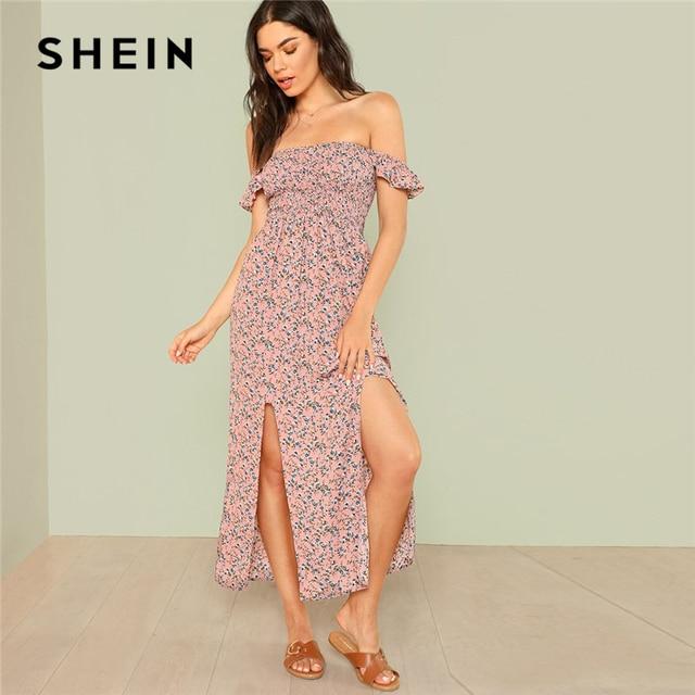 cc00bfc3ea SHEIN Off Shoulder Slit Hem Shirred Floral Dress Women Ruffle High Waist  Sleeveless Backless Dress 2018 Beach Boho Maxi Dress