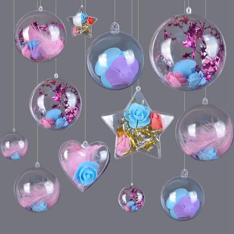 12CM 10X Wedding Xmas Clear Plastic 2part Hang tree Ball Spheres Baubles Favours