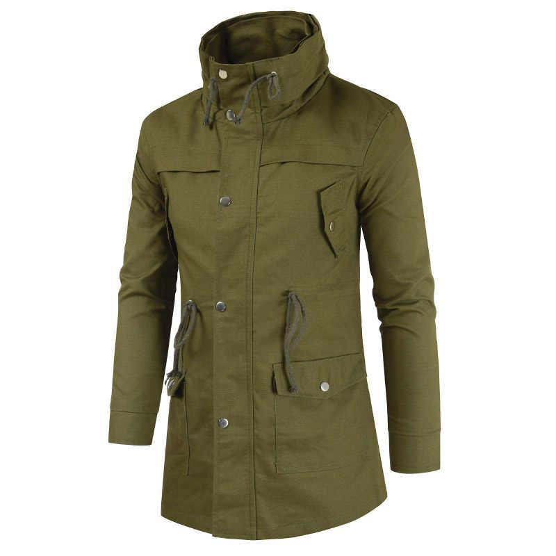 Модные новые мужские куртки и пальто с двойным воротником больших размеров качественные повседневные однотонные хлопковые толстые пальто-кардиган на молнии ZZG83